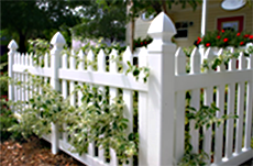 Standard picket fence at vinyl fence materials Colorado